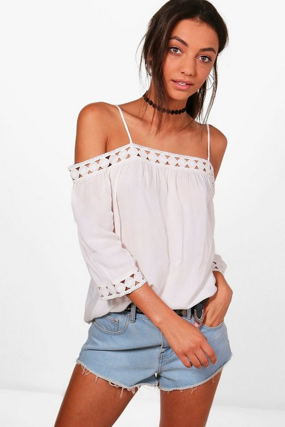 Tall Hannah Crochet Trim Cold Shoulder Top
