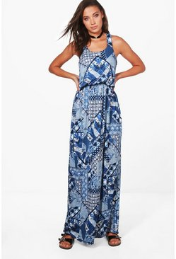 Tall Charlie Paisley Print Maxi Dress, Navy, MUJER
