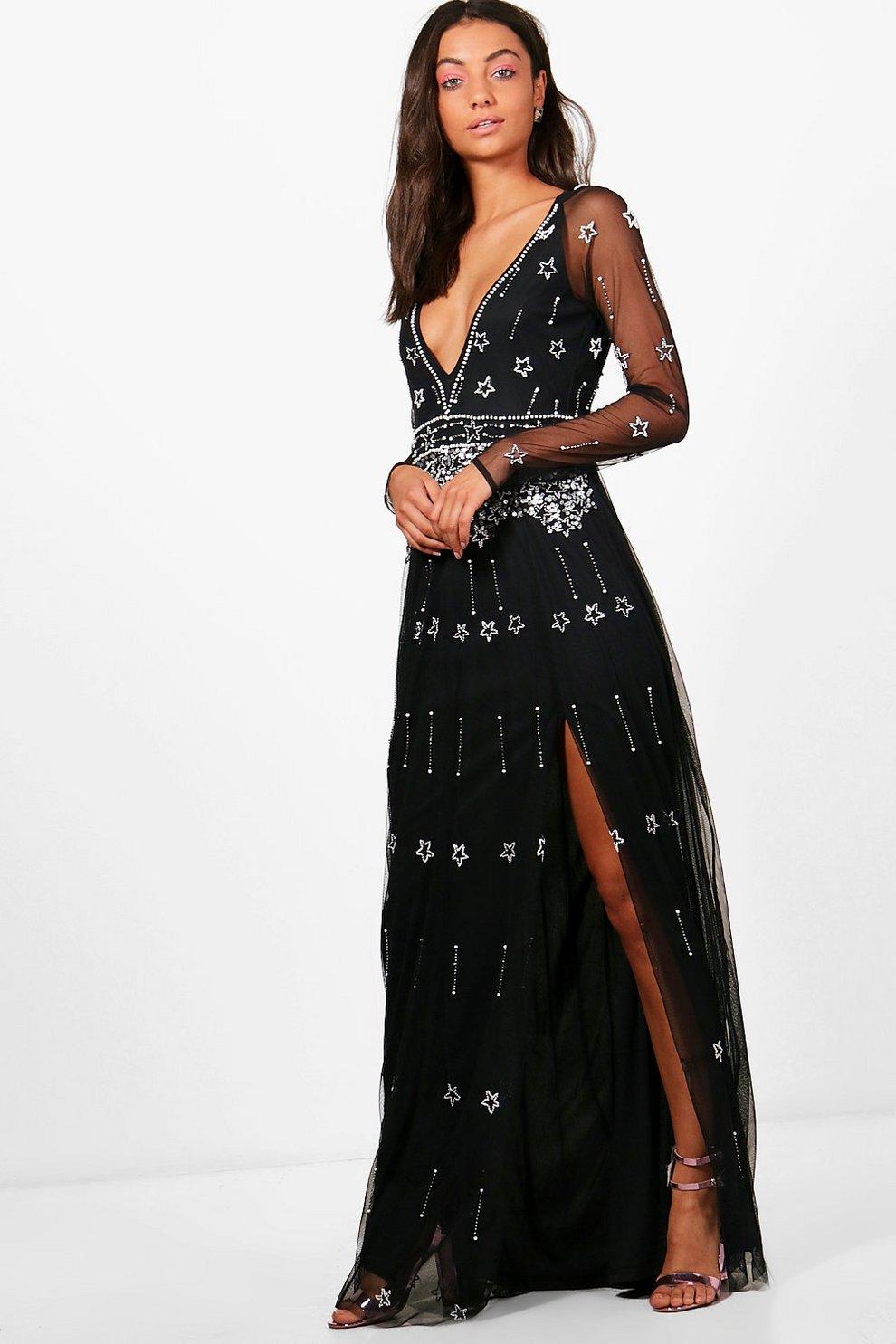 b343ff6f273b Tall Tania Boutique Plunge Star Beaded Maxi Dress | Boohoo