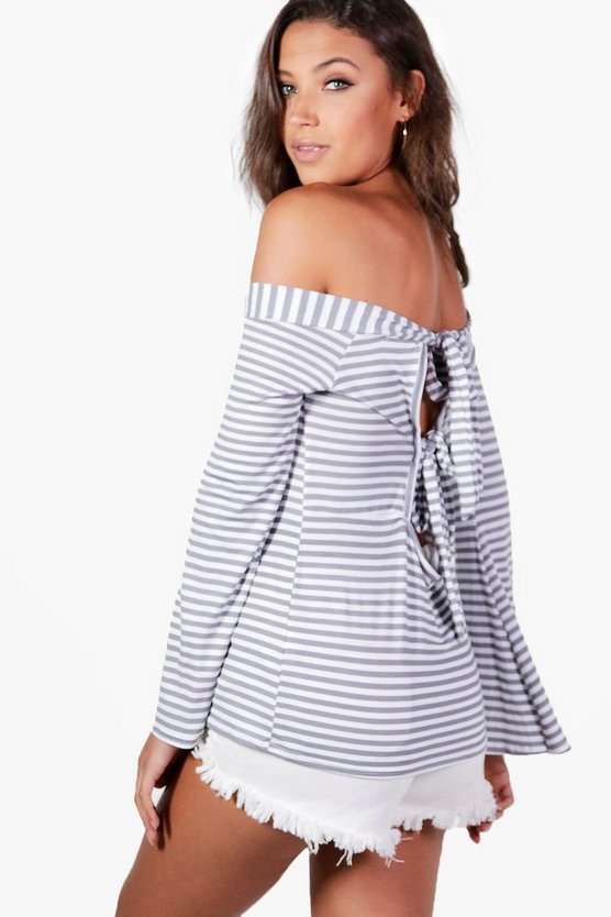 Tall Eva Striped Bardot Flared Sleeve Top