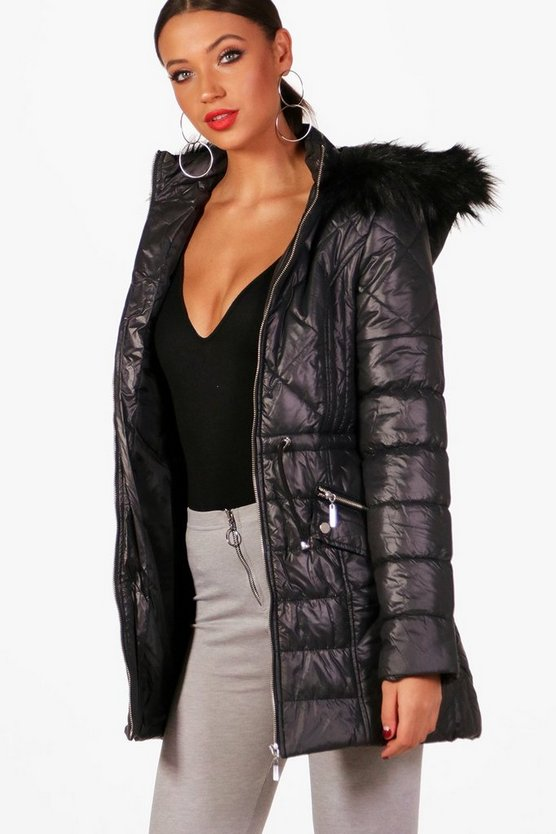 Tall Quilted Hooded Coat