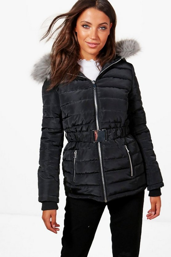 Tall Quilted Belt Faux Fur Trim Jacket