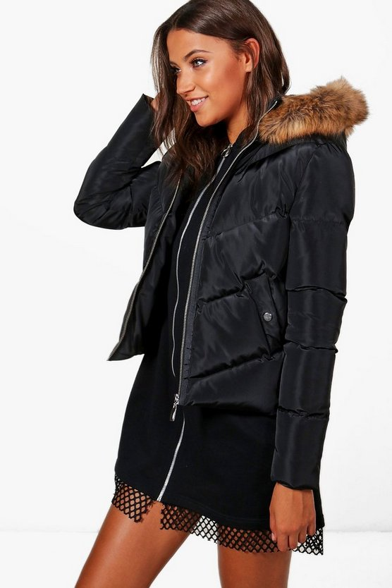 Tall Sara Padded Jacket With Faux Fur Hood