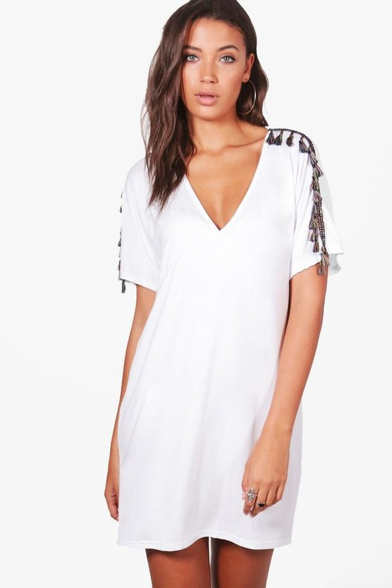 Tall Evie Tassel Trim Beach Dress