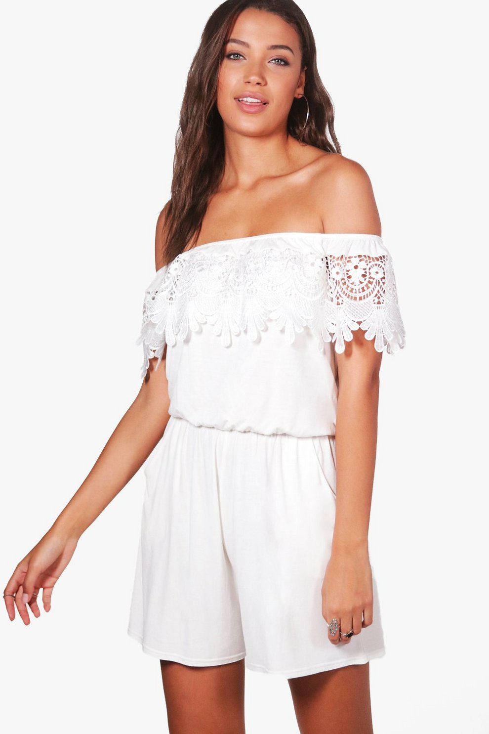 fe84290aca Tall Esme Off Shoulder Crochet Trim Playsuit