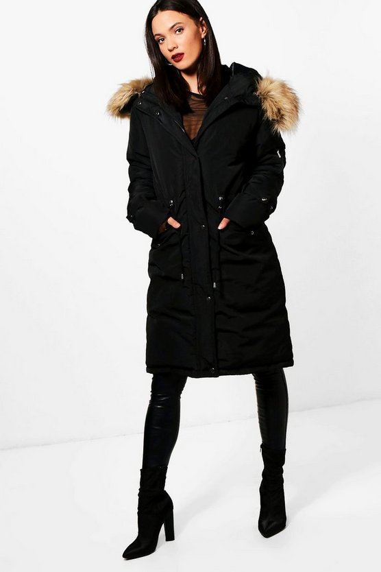 Tall Faux Fur Trim Parka