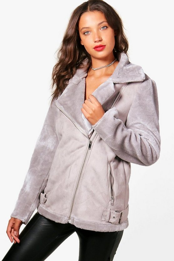 Tall Suedette Aviator Jacket