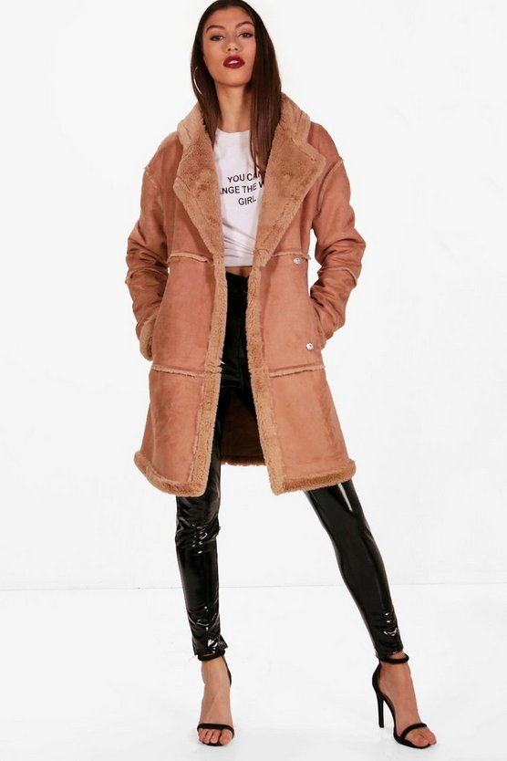 Tall Raw Edge Faux Fur Coat