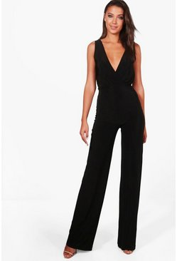 Womens Black Tall Wrap Front Wide Leg Slinky Jumpsuit