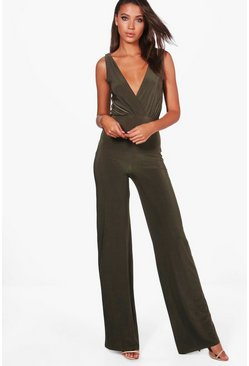 Khaki Tall Wrap Front Wide Leg Slinky Jumpsuit