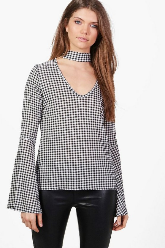 Tall Astria Choker Fluted Sleeve Gingham Top