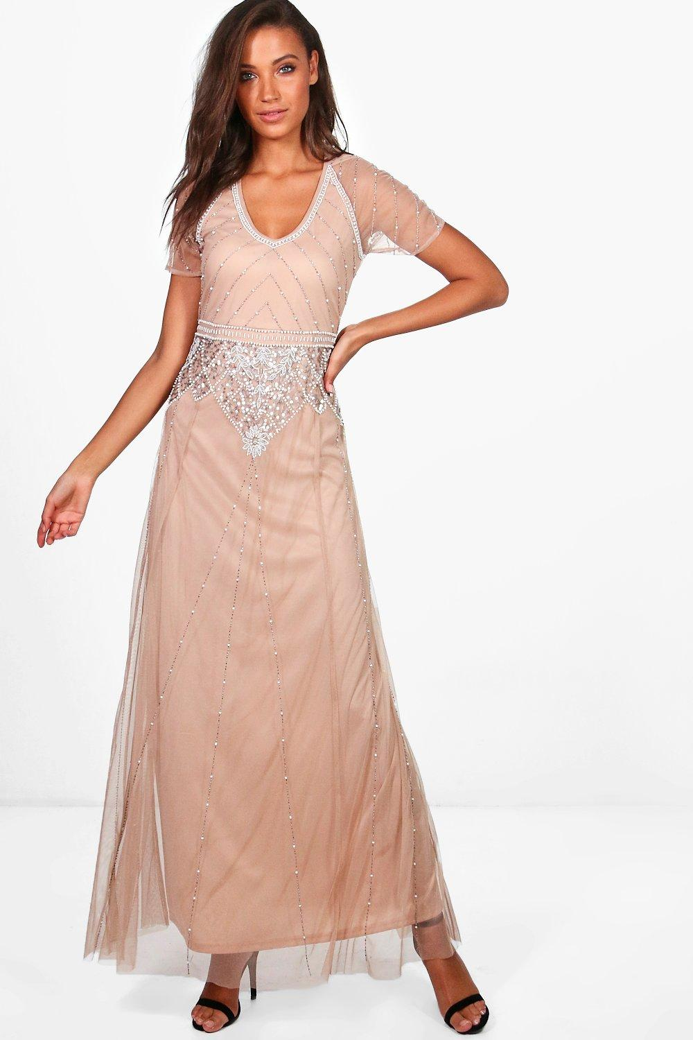Tall Boutique Sequin & Beaded Maxi Dress