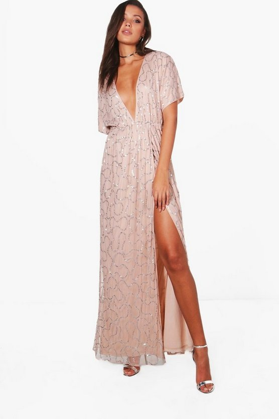 Tall Plunge Wrap Front Sequin Maxi Dress