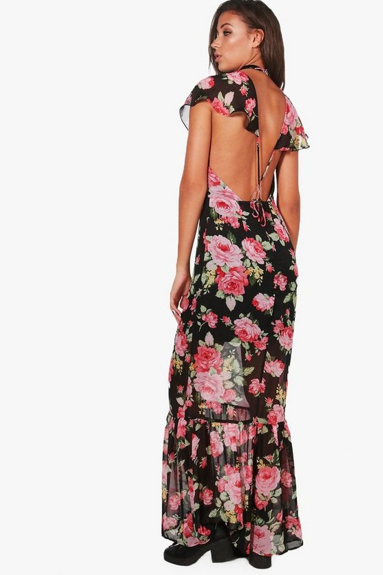 Tall Mona Floral Open Back Maxi Dress