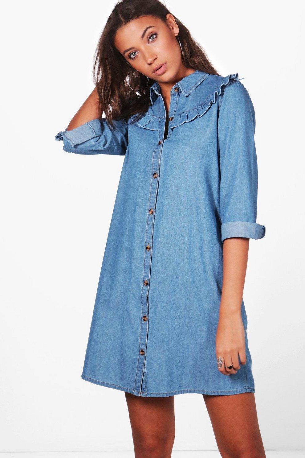 a93e5aaaaf1ccc Womens Blue Tall Esme Ruffle Front Denim Shirt Dress