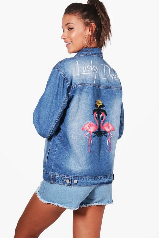 Tall Oriane Embroidered Back Denim Jacket