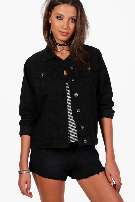 Womens Black Tall  Oversized Denim Boyfriend Jacket