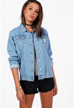 Tall Oversized Denim Boyfriend Jacket, Blue, Donna