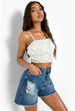 Tall  Distressed Frayed Denim Shorts, Mid blue