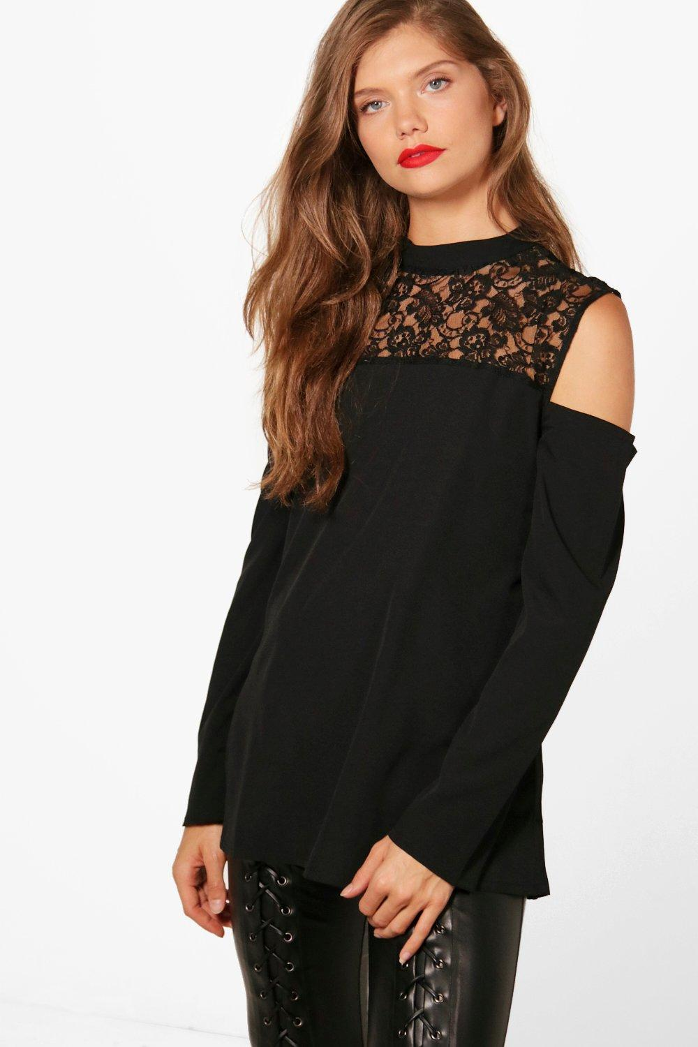 dd88df0537e98 Tall Ebele Lace High Neck Cold Shoulder Top. Hover to zoom