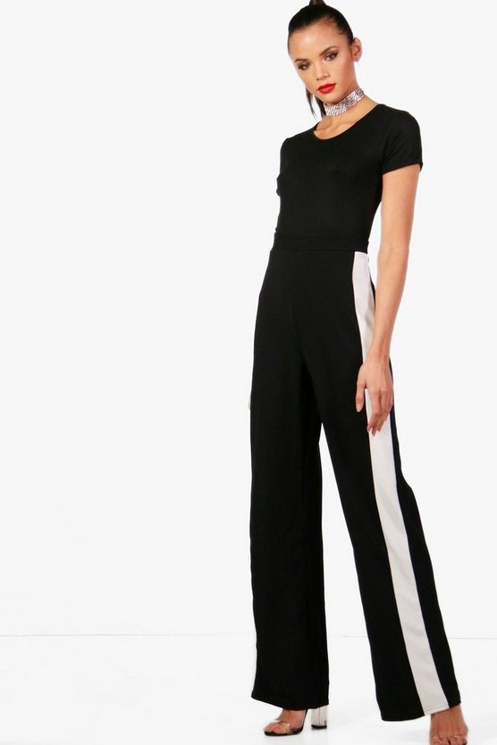 Tall Wide Leg Side Panel Trousers