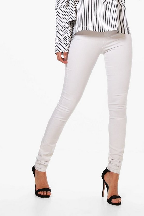 "Tall White High Waisted Skinny 36"""" Leg Jeans"