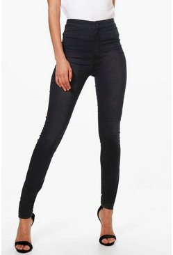 "Tall  38"""" Leg High Waisted Jeans, Black, Donna"