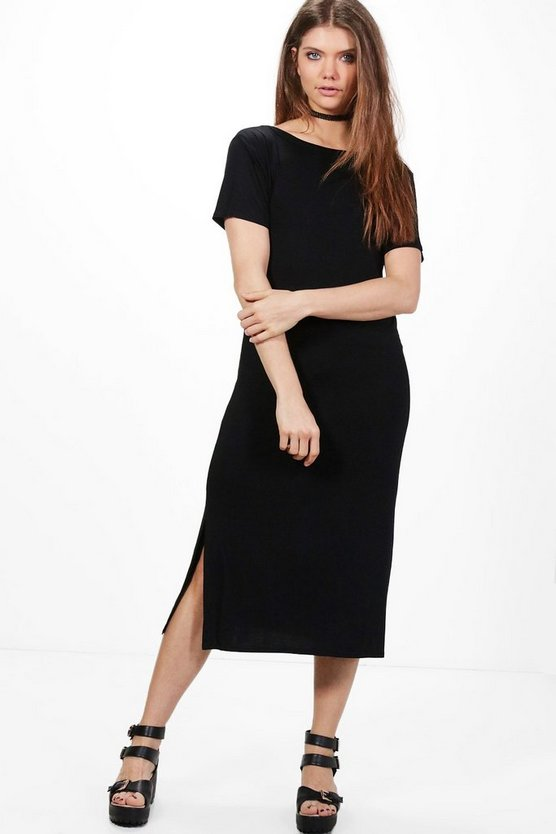Tall Solene V Back Midi T-Shirt Dress