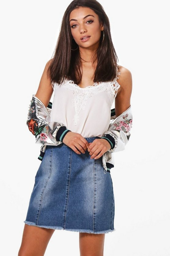 Tall Tia Raw Edge Mini Denim Skirt