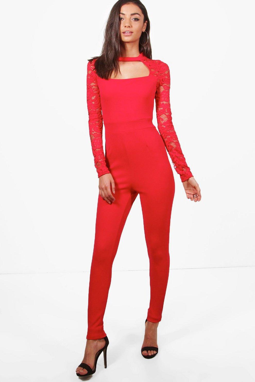 74de85fe2b0a52 Tall Jumpsuit mit Spitze und Cutout, Rot, Weiblich
