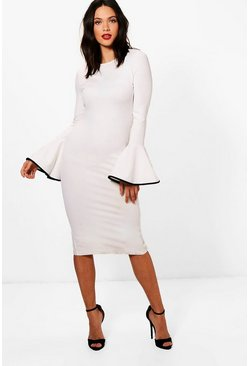 Womens White Tall Contrast Flared Sleeve Bodycon Dress
