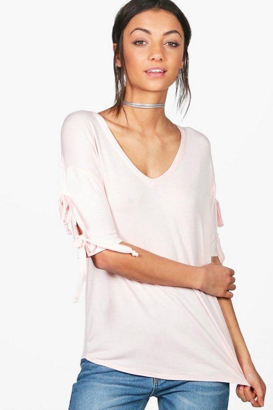 Tall Skye Tie Sleeve T-Shirt
