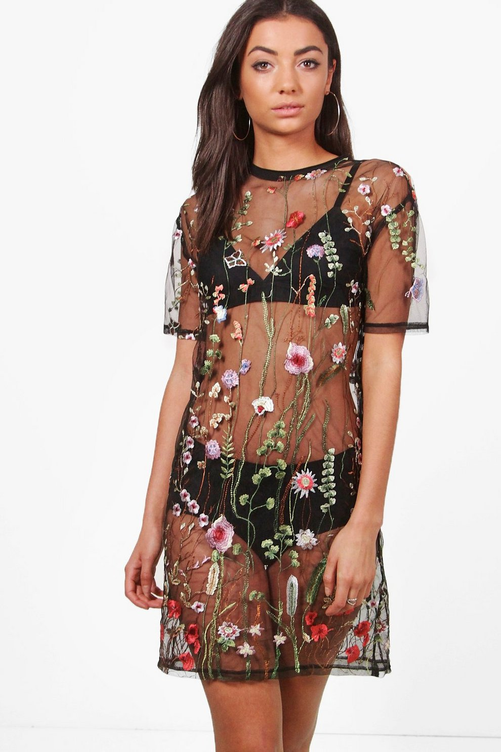 1e030c0df6a0d Womens Black Tall Shay Sheer Embroidered Boxy Dress