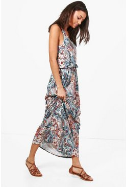 Womens Multi Tall Elise Paisley Print Twisted Maxi Dress