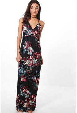 Womens Black Tall  Dark Floral Maxi Dress