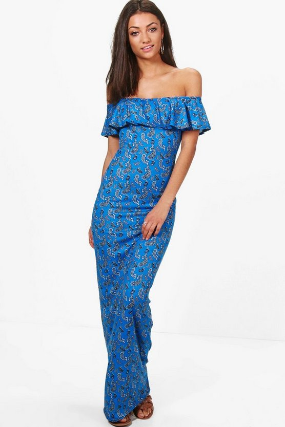 Tall Kace Paisley Off The Shoulder Maxi Dress
