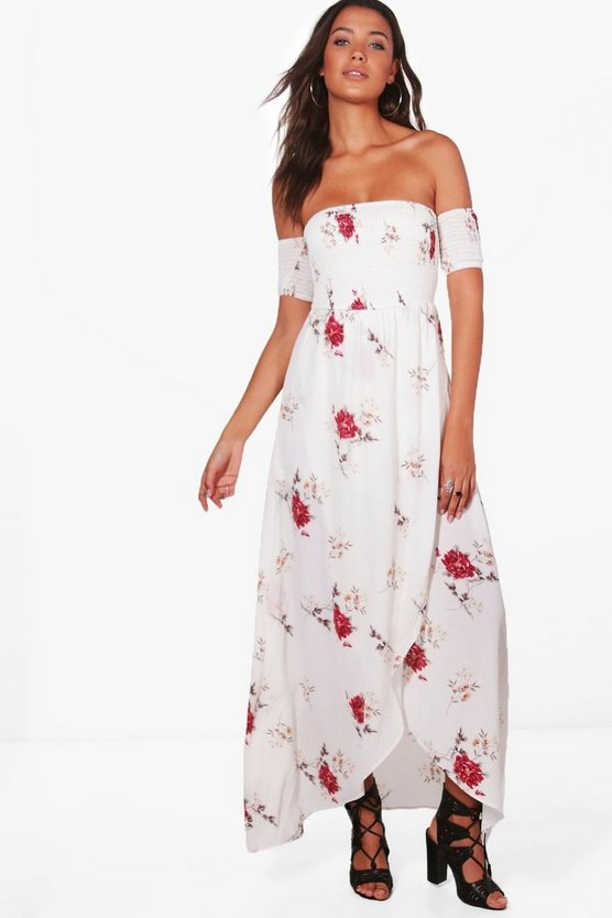 Tall Sheered Off The Shoulder Maxi Dress