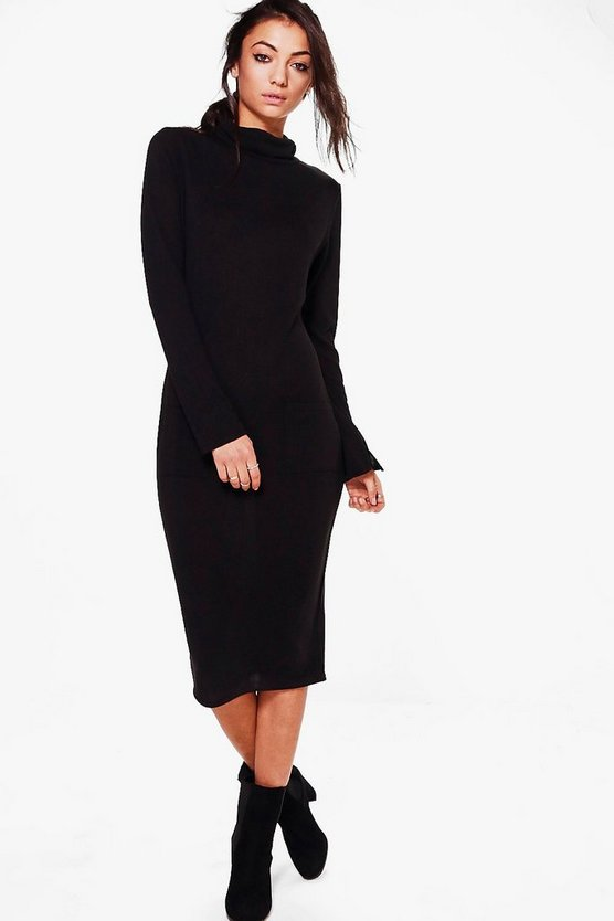 Womens Black Tall Sofie Knitted Roll Neck Dress