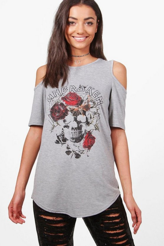 Tall Anise Oversized Cold Shoulder Band Tee