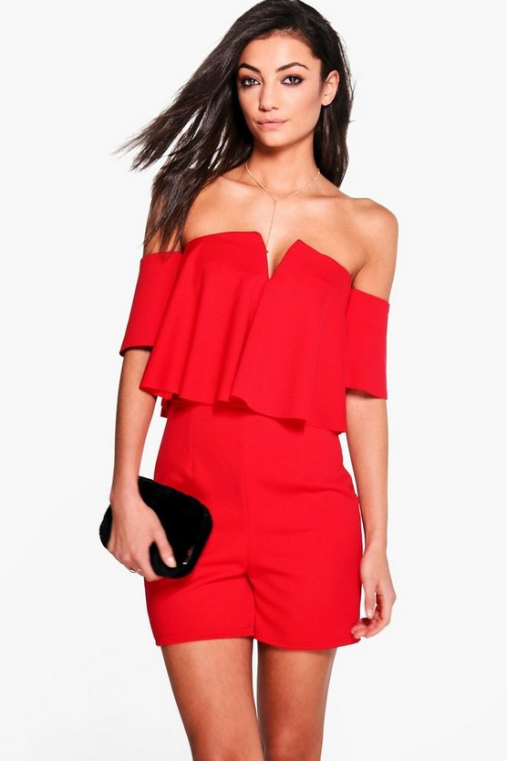 Tall Frill Off The Shoulder Playsuit