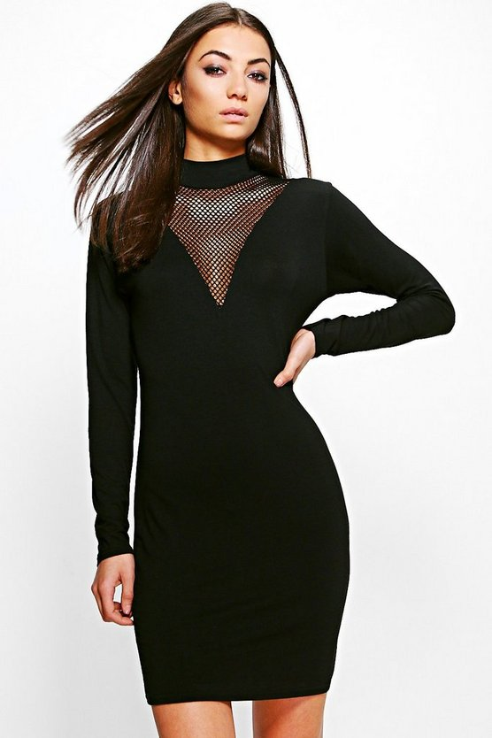 Tall Lianne Mesh Insert Dress