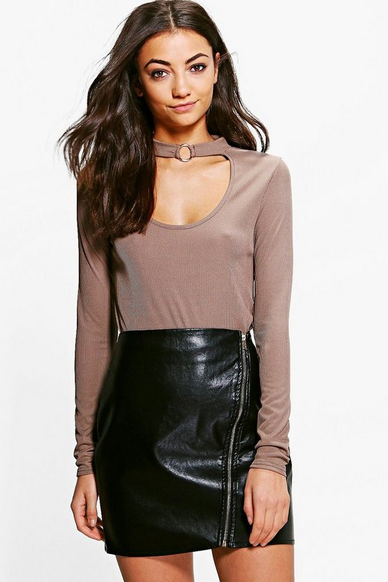 Tall Elspeth Choker Buckle Ribbed Top