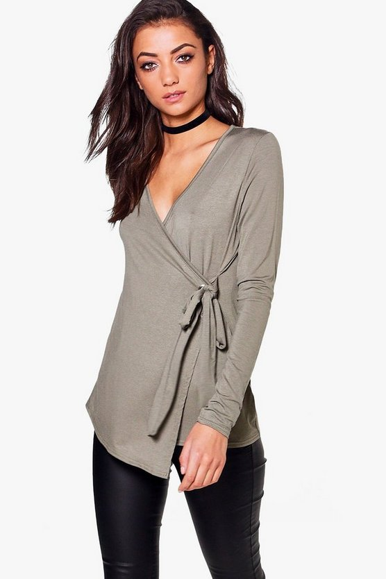 Tall Wrap Front Buckle Detail Top