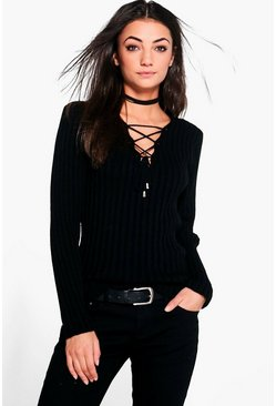 Black Tall Lace Up Jumper