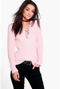 Womens Blush Tall Lace Up Jumper