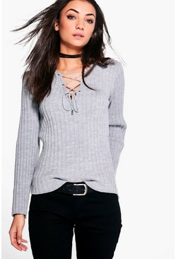 Womens Grey Tall Lace Up Jumper