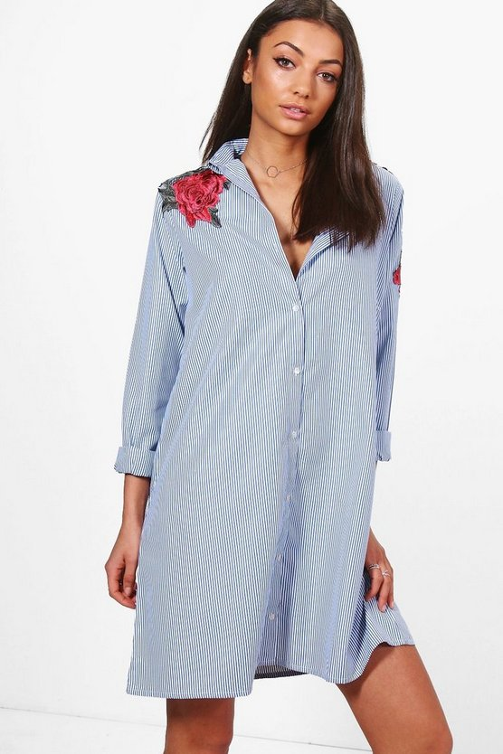 Tall Embroidered Floral Stripe Shirt Dress