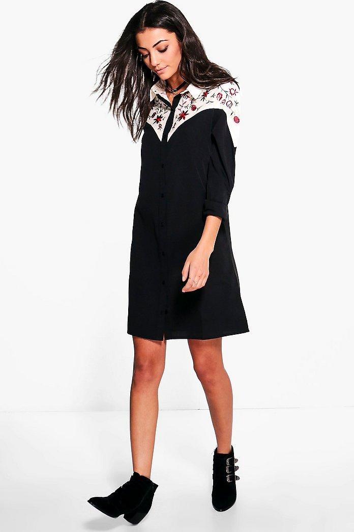 Tall Tia Embroidered Western Shirt Dress   boohoo