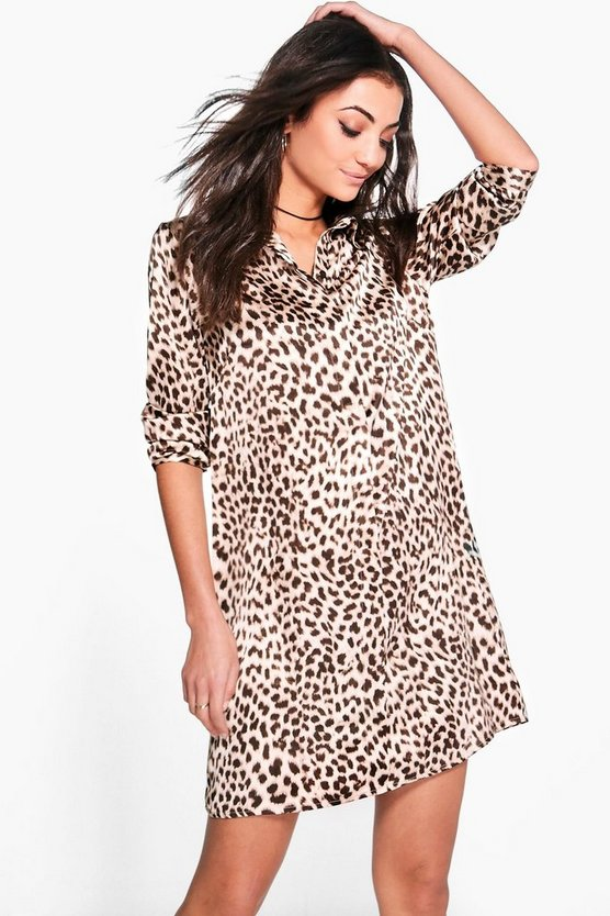 Tall Freya Silky Leopard Print Shirt Dress