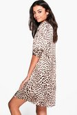 37573c6a347 ... Womens Brown Tall Freya Silky Leopard Print Shirt Dress alternative  image ...